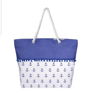 COMING. Anchors Away Tote with Pom Poms